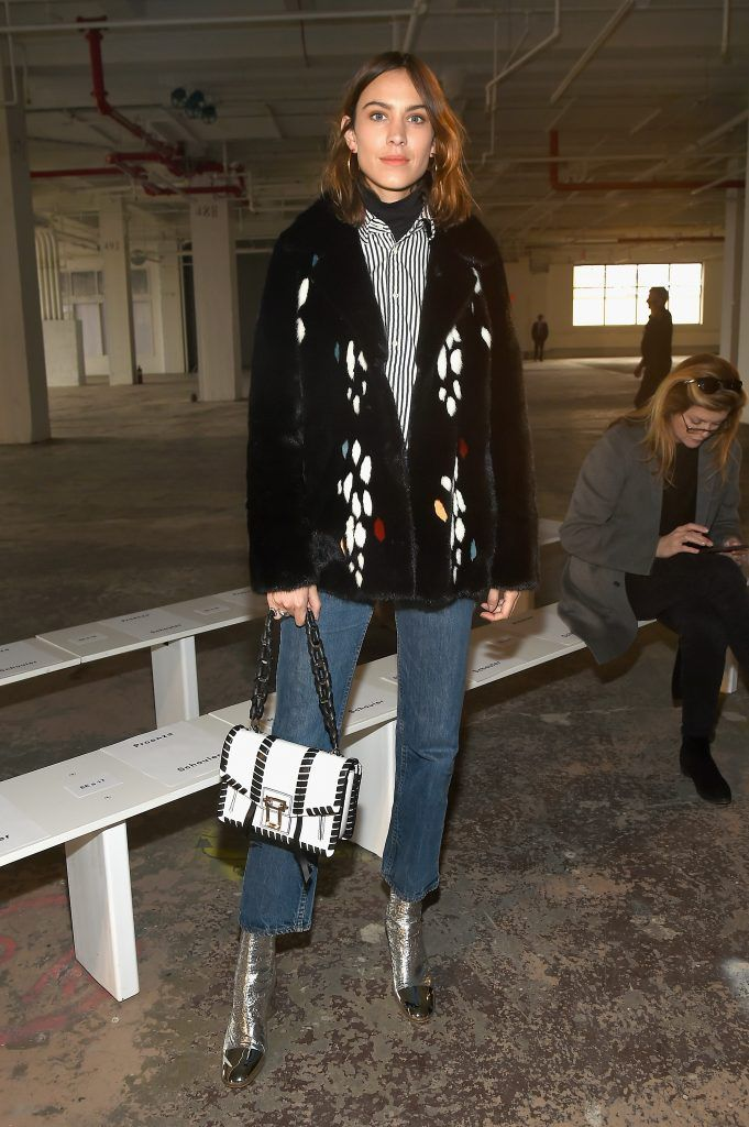 Alexa Chung attends the Proenza Schouler collection during, New York Fashion Week: The Shows on February 13, 2017 in New York City.  (Photo by Ben Gabbe/Getty Images)