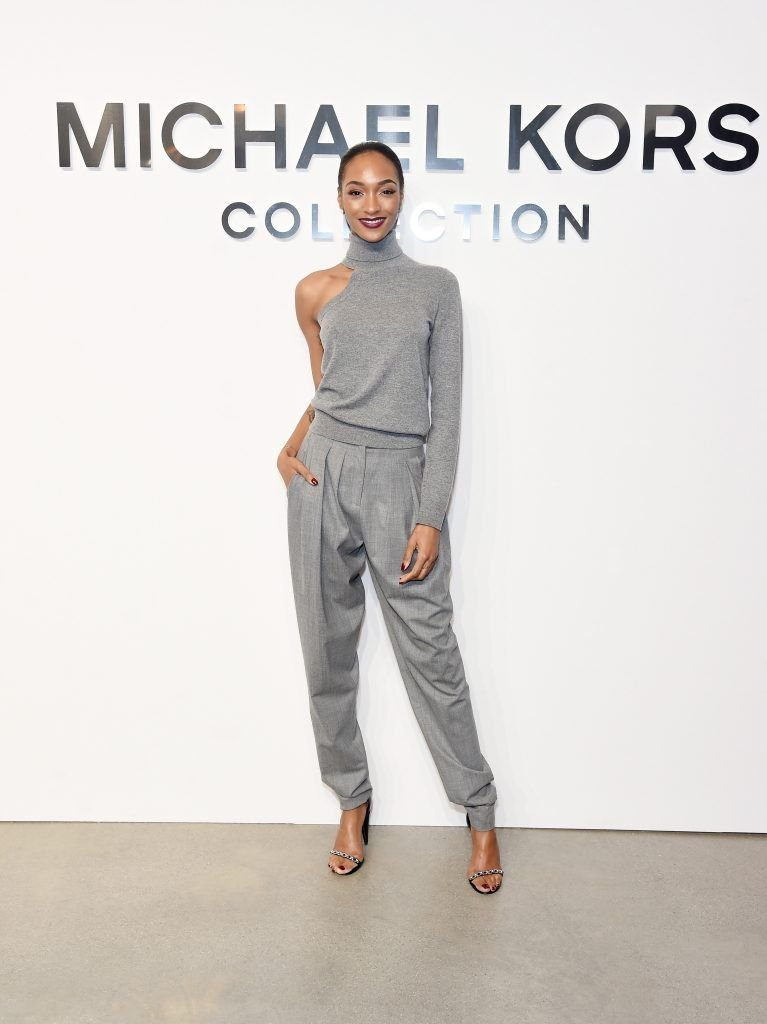 Model Jourdan Dunn attends the Michael Kors Collection Fall 2017 runway show at Spring Studios on February 15, 2017 in New York City.  (Photo by Jamie McCarthy/Getty Images for Michael Kors)