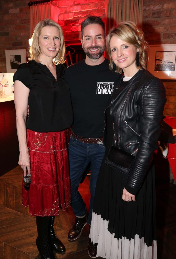 Pamela Flood with Ken Boylan and Louise Stokes, pictured at the Diet Coke 'Get the Gang Back Together' event, which took place Thursday 16th February at The Dean Hotel, Harcourt Street. Pic Robbie Reynolds