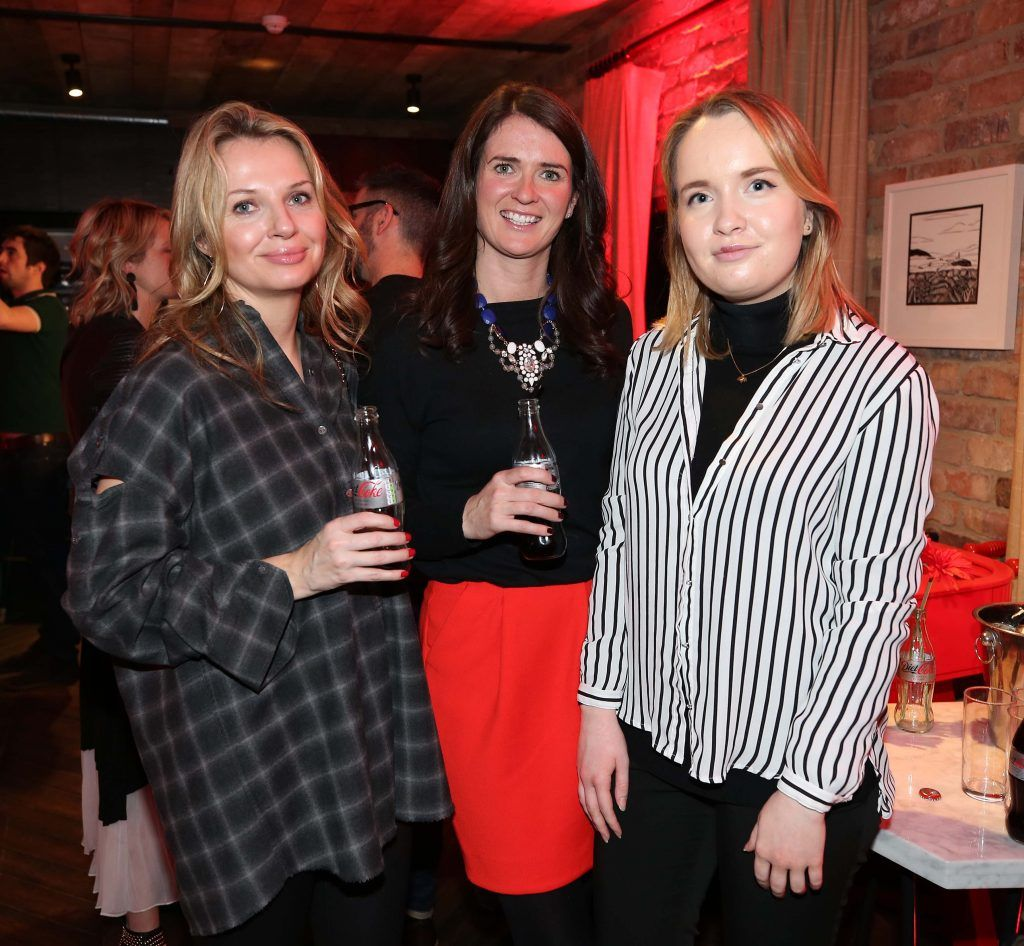Eimear Kelly with Laura Shackleton and Tara Miskelly, pictured at the Diet Coke 'Get the Gang Back Together' event, which took place Thursday 16th February at The Dean Hotel, Harcourt Street. Pic Robbie Reynolds