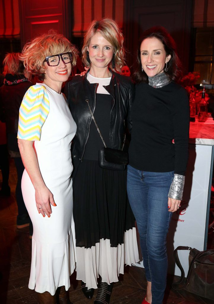 Sonya Lennon (left) with Louise Stokes and Maia Dunphy, pictured at the Diet Coke 'Get the Gang Back Together' event, which took place Thursday 16th February at The Dean Hotel, Harcourt Street. Pic Robbie Reynolds