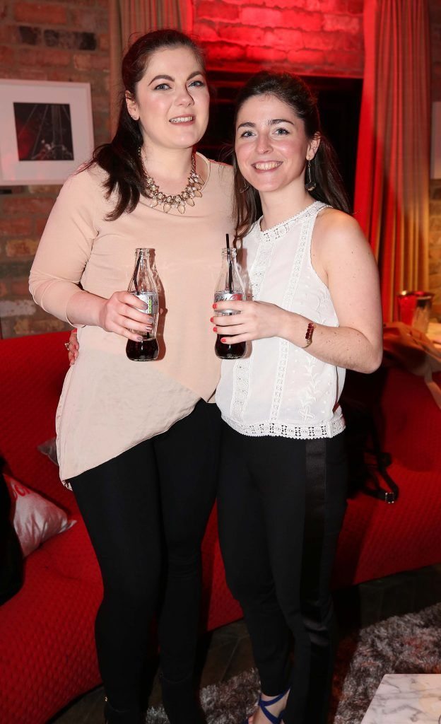 Georgia Hickey and Marie McBrien, pictured at the Diet Coke 'Get the Gang Back Together' event, which took place Thursday 16th February at The Dean Hotel, Harcourt Street. Pic Robbie Reynolds