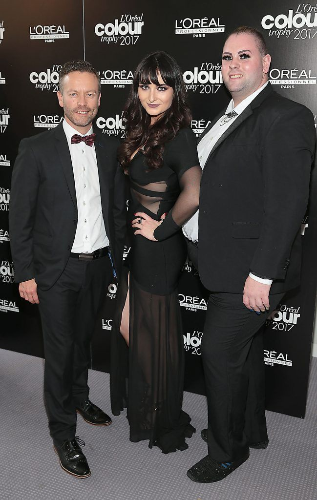 Sean Taafe, Sarah Cummins and Aaron Healy at the L'Oreal Colour Trophy Grand Final 2017, the longest running live hairdressing competition in the world, which took place in O'Reilly Hall UCD, Dublin #LCTIRE17. Picture by Brian McEvoy