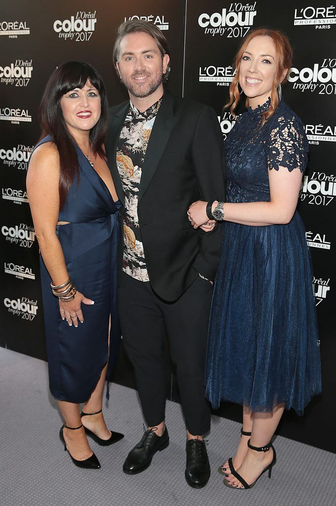 Hilary O Kelly, Dave Darcy and Diana King at the L'Oreal Colour Trophy Grand Final 2017, the longest running live hairdressing competition in the world, which took place in O'Reilly Hall UCD, Dublin #LCTIRE17. Picture by Brian McEvoy