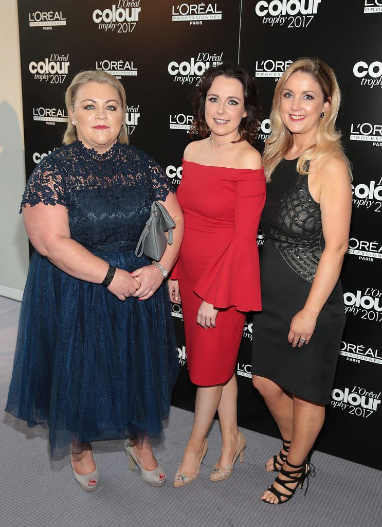 Anita Granahan, Helena McLoughlin and Marese Sweeney at the L'Oreal Colour Trophy Grand Final 2017, the longest running live hairdressing competition in the world, which took place in O'Reilly Hall UCD, Dublin #LCTIRE17. Picture by Brian McEvoy