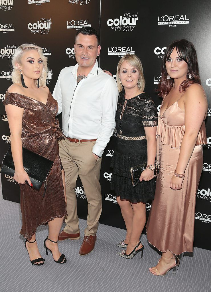 Nicole Rich, Keith O Brien, Audrey McGrath and Savannah Rodgerson at the L'Oreal Colour Trophy Grand Final 2017, the longest running live hairdressing competition in the world, which took place in O'Reilly Hall UCD, Dublin #LCTIRE17. Picture by Brian McEvoy