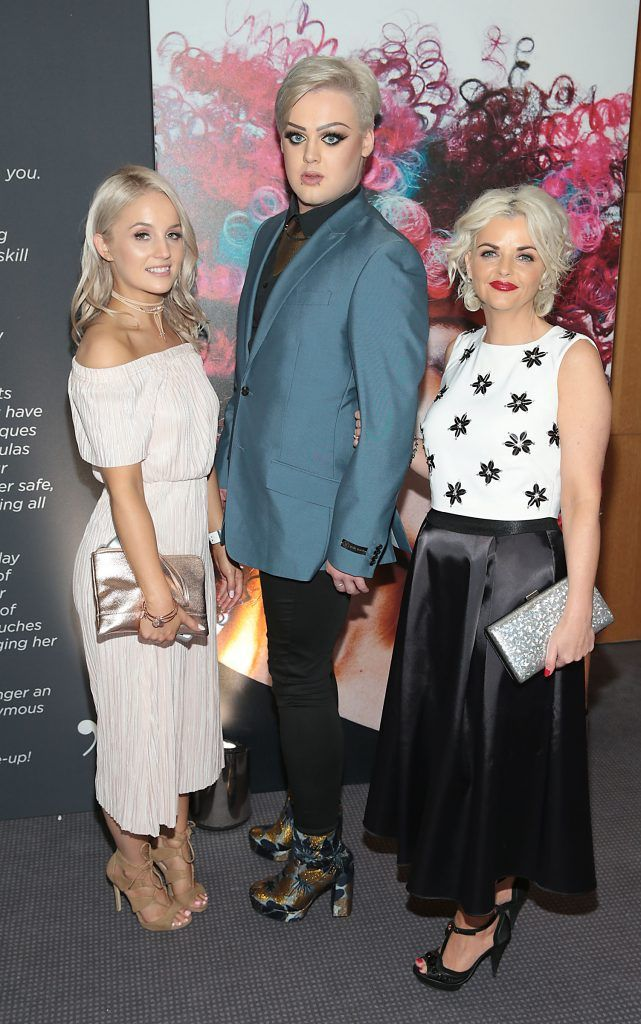 Hannah Kavanagh, Adam Lynch and Avril Shirley at the L'Oreal Colour Trophy Grand Final 2017, the longest running live hairdressing competition in the world, which took place in O'Reilly Hall UCD, Dublin #LCTIRE17. Picture by Brian McEvoy