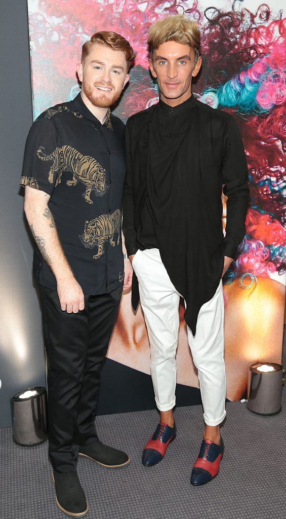 Dean Monks and Albert  Halpin at the L'Oreal Colour Trophy Grand Final 2017, the longest running live hairdressing competition in the world, which took place in O'Reilly Hall UCD, Dublin #LCTIRE17. Picture by Brian McEvoy