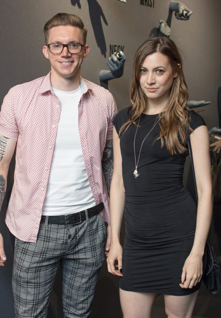 Alan Conlon & Paloma Feijoo pictured at the first ever Lynx pop-up shop in Ireland. Guys can drop into 60 South William Street to avail of haircuts from Lynx grooming experts - redeemable with product. Photo: Anthony Woods