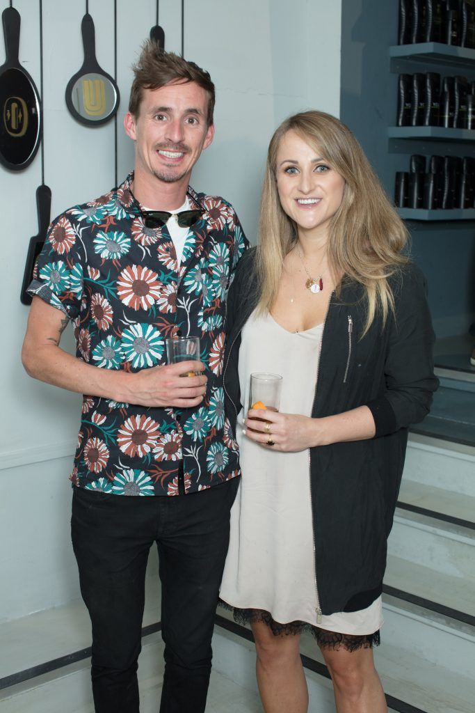 James McGill & Justine King pictured at the first ever Lynx pop-up shop in Ireland. Guys can drop into 60 South William Street to avail of haircuts from Lynx grooming experts - redeemable with product. Photo: Anthony Woods