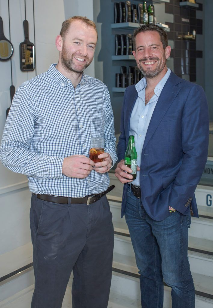 Peter Hatton & Nick Johnson pictured at the first ever Lynx pop-up shop in Ireland. Guys can drop into 60 South William Street to avail of haircuts from Lynx grooming experts - redeemable with product. Photo: Anthony Woods