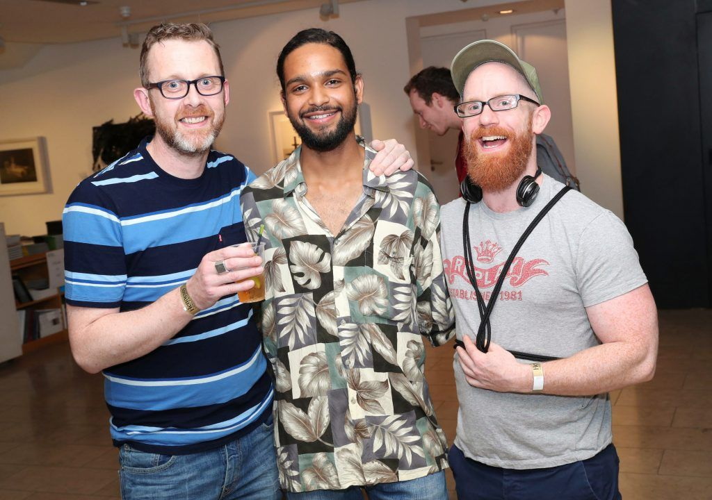 Gerard Byrne, Iago Lima and Phil Weir at the RHA Hennessy Lost Friday (7th July), a night showcasing Ireland's most cutting edge and dynamic artists, musicians, and creatives. Pic: Marc O'Sullivan