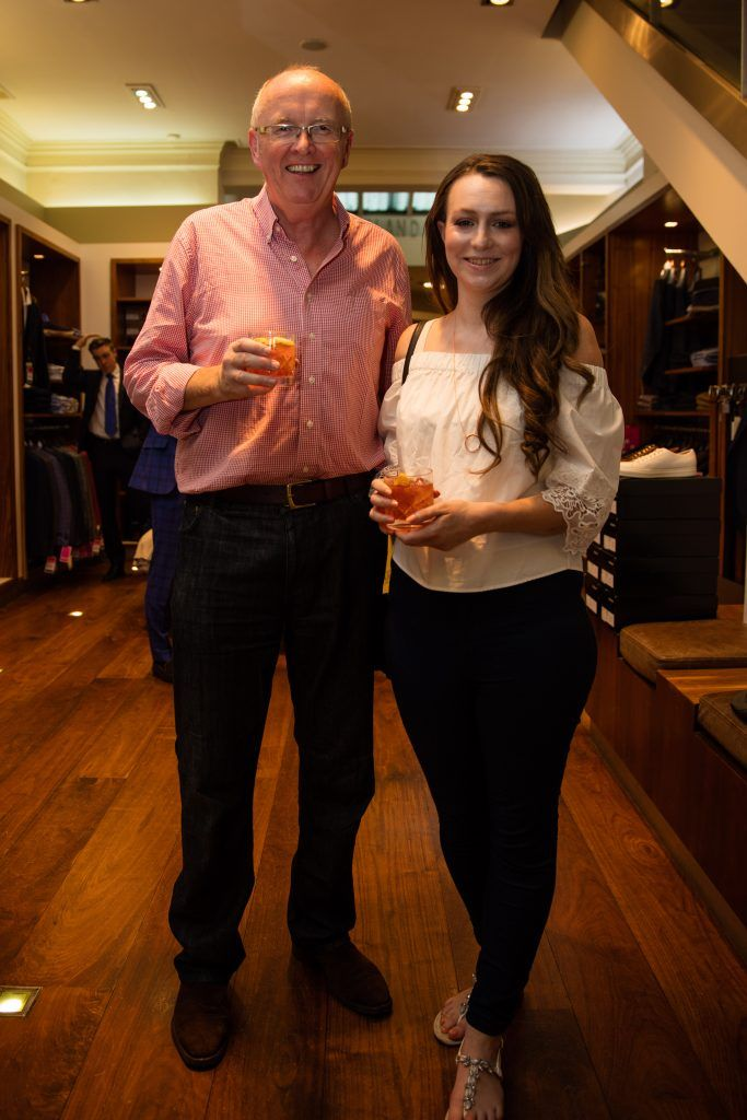 Pictured at the Powers Irish Whiskey Event in Louis Copeland, Wicklow Street were Jim Gallagher & Louise Mooney. Photo by Dublin Daily Photography