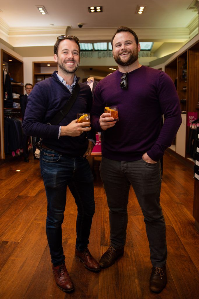 Pictured at the Powers Irish Whiskey Event in Louis Copeland Wicklow Street were Cian Tormey & Alex McFadden. Photo by Dublin Daily Photography