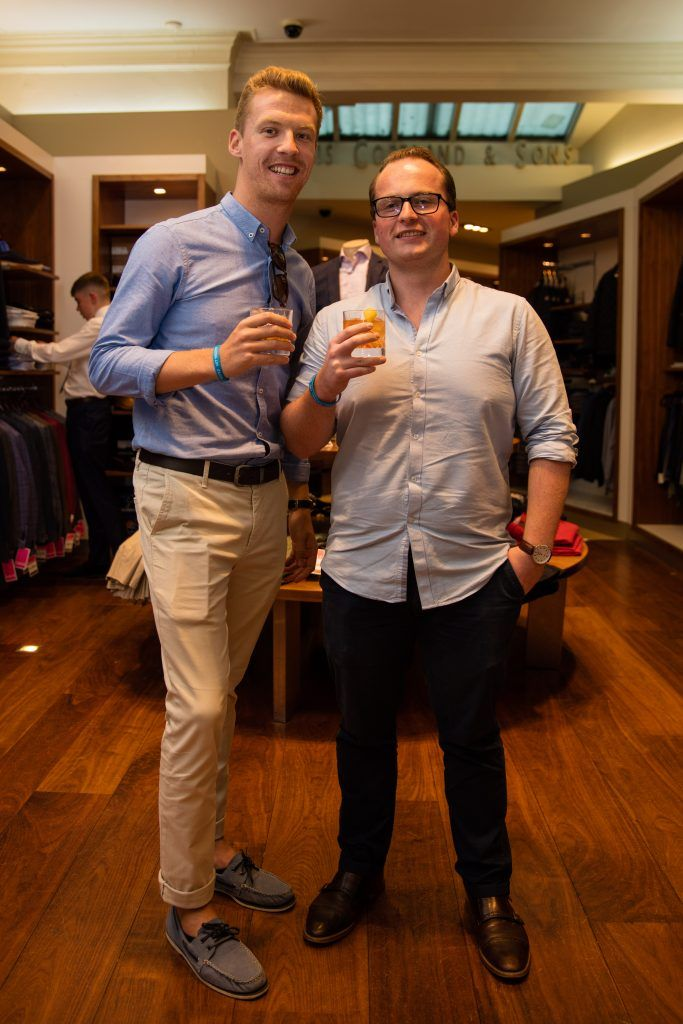 Pictured at the Powers Irish Whiskey Event in Louis Copeland Wicklow Street were Colm Spierin & Sean Treacy. Photo by Dublin Daily Photography