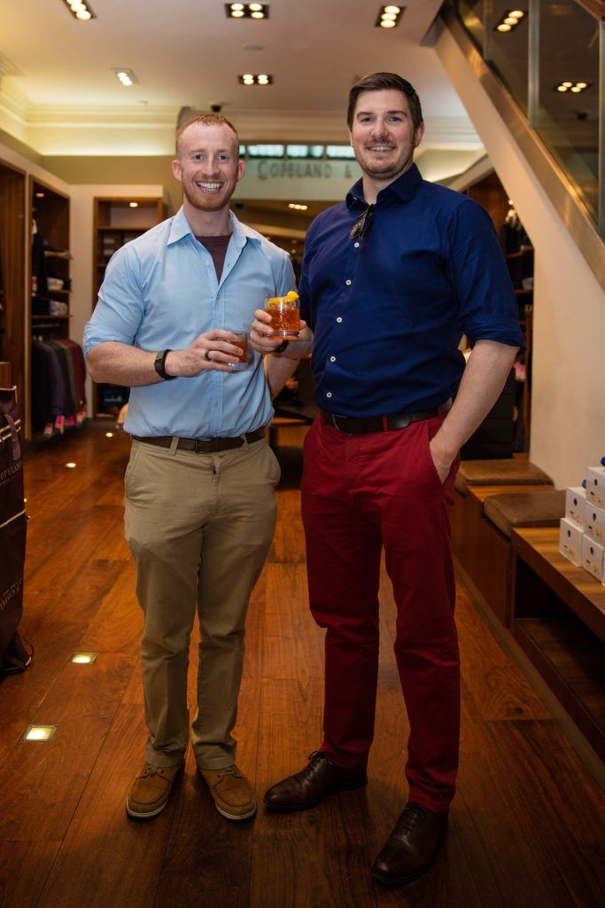 Pictured at the Powers Irish Whiskey Event in Louis Copeland, Wicklow Street were Michael Cowman & Fiachra Lambe. Photo by Dublin Daily Photography