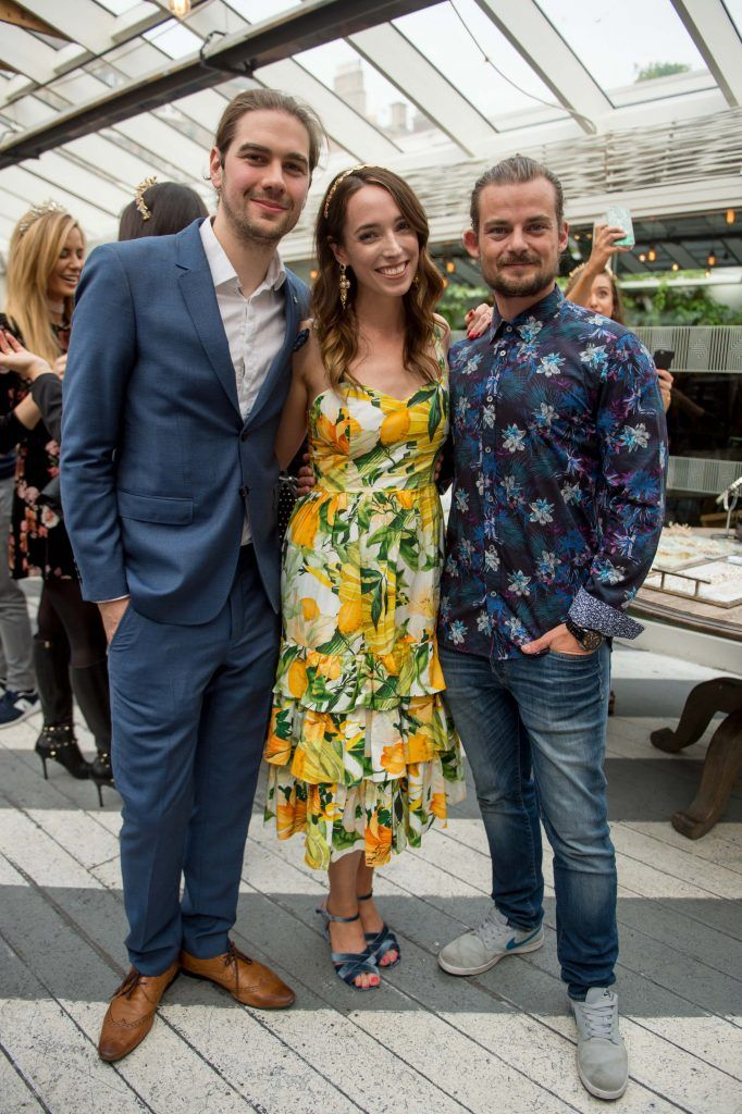 Joseph Sheridan, Ciara O'Doherty and Alex Sheridan at the launch of Taylor & Rose, a hair couture accessories brand by Irish bloggerand stylist Ciara O'Doherty. Photographed in House, Dublin by Ruth Medjber // Ruthless Imagery
