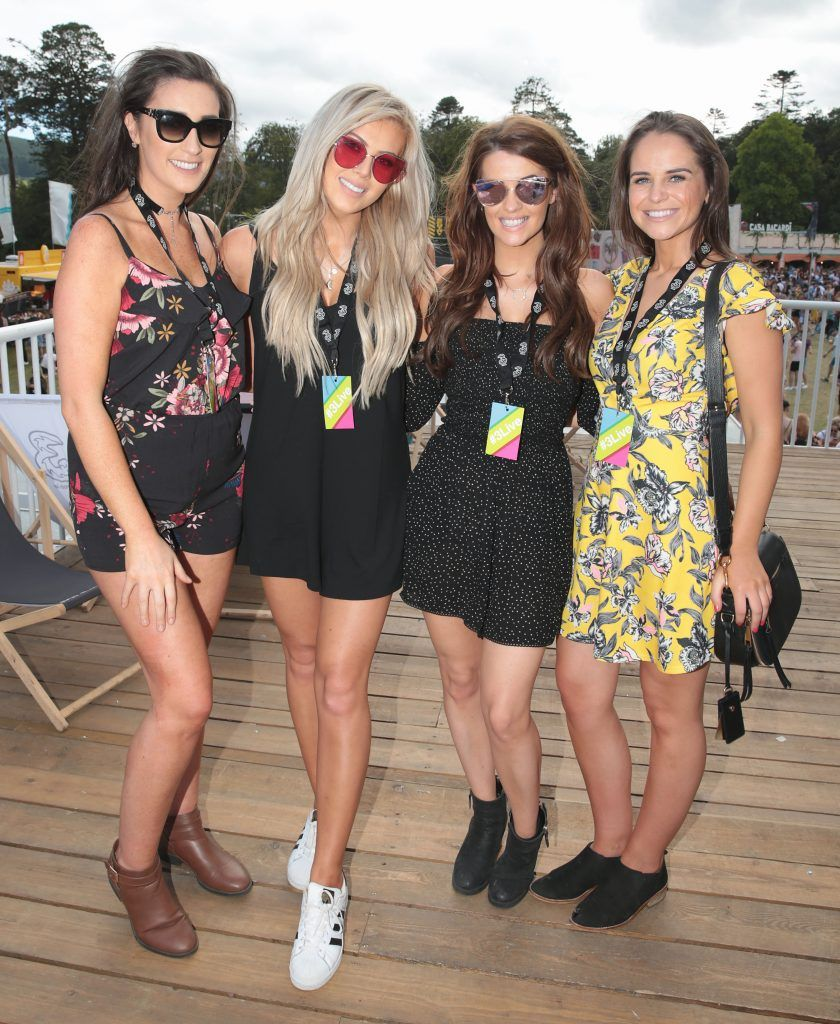 Aisling Tunney, Chloe Boucher, Emma Slevin and Catherine Irwin Andrea Sheridan and Darren Kennedy at the 3Live experience at Longitude in Marlay Park, Dublin (15th July 2017). Picture by Brian McEvoy