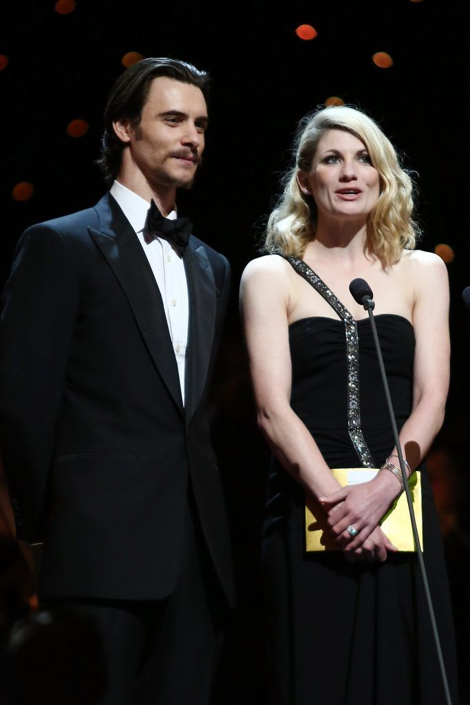 Harry Lloyd and Jodie Whittaker present onstage at the 2012 Olivier Awards at The Royal Opera House on April 15, 2012 in London, England.  (Photo by Tim Whitby/Getty Images)
