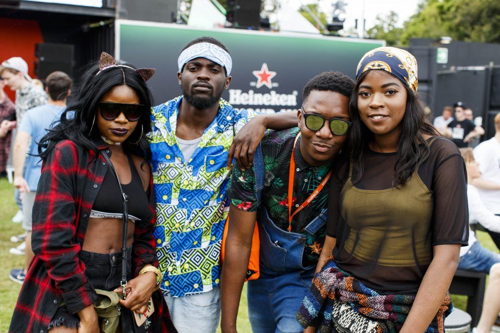 Simi Olumide and Jordan Mindomba with Chris and Glet Kambayi pictured at the Heineken 'Live Your Music' area, a new music experience that the crowd can control, at Longitude Festival 2017, Marlay Park. Picture by Andres Poveda