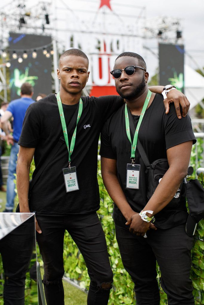 Lucky Sithelo and Lui Rwego pictured at the Heineken 'Live Your Music' area, a new music experience that the crowd can control, at Longitude Festival 2017, Marlay Park. Picture by Andres Poveda