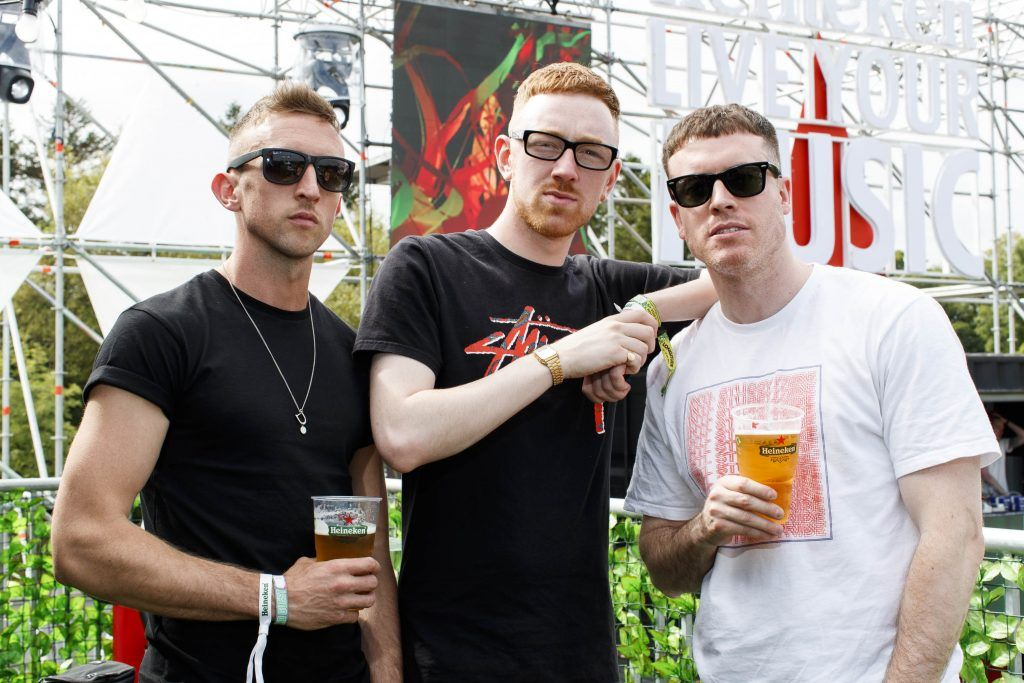 John Ennis, Mango and MathMan pictured at the Heineken 'Live Your Music' area, a new music experience that the crowd can control, at Longitude Festival 2017, Marlay Park. Picture by Andres Poveda