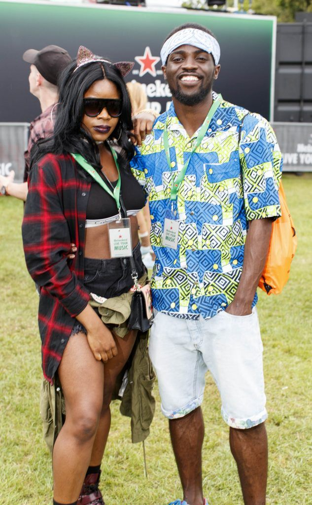 Simi Olumide and Jordan Mindomba pictured at the Heineken 'Live Your Music' area, a new music experience that the crowd can control, at Longitude Festival 2017, Marlay Park. Picture by Andres Poveda
