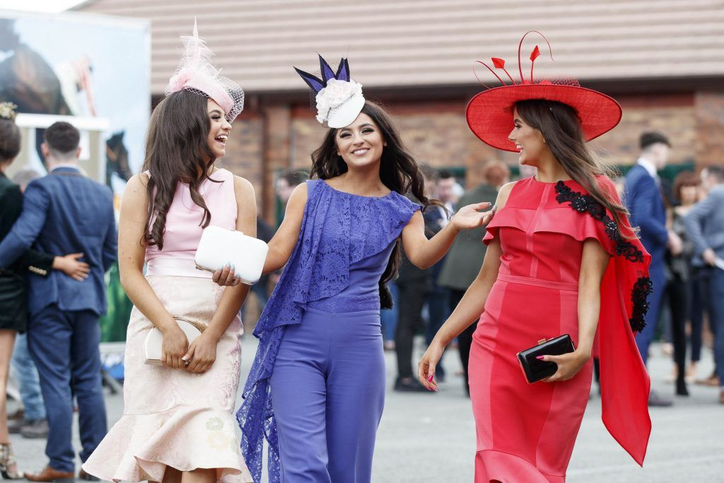 Chelsea and Kirsty Farrell with Caoimhe Traynor pictured at the Carton House Most Stylish Lady competition at the Irish Grand National Fairyhouse. Picture Andres Poveda