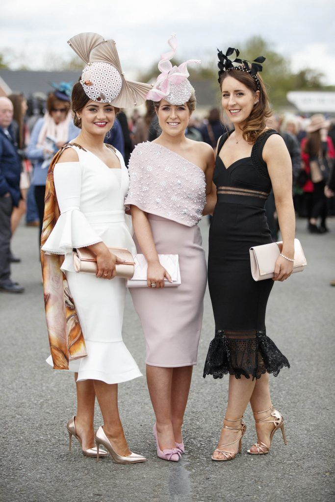 Aimee Farrell, Clare Digney and Niamh Moan from Armagh pictured at the Carton House Most Stylish Lady competition at the Irish Grand National Fairyhouse. Picture Andres Poveda