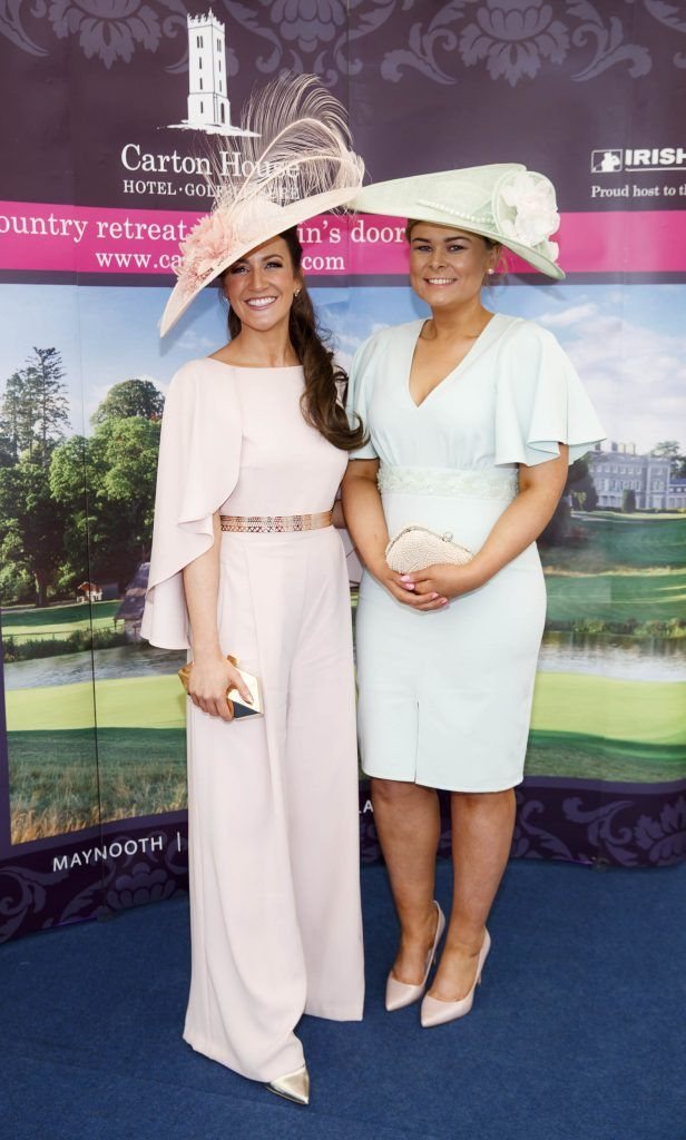 Rebecca-Rose Quigley from Monaghan and Rebecca Bucannon from Dundalk pictured at the Carton House Most Stylish Lady competition at the Irish Grand National Fairyhouse. Picture Andres Poveda