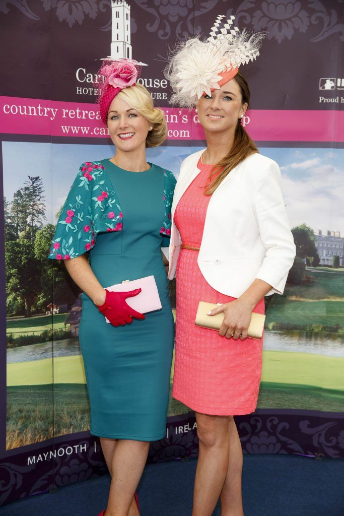 Niamh and Aisling Killilea from Oranmore, Co Galway pictured at the Carton House Most Stylish Lady competition at the Irish Grand National Fairyhouse. Picture Andres Poveda