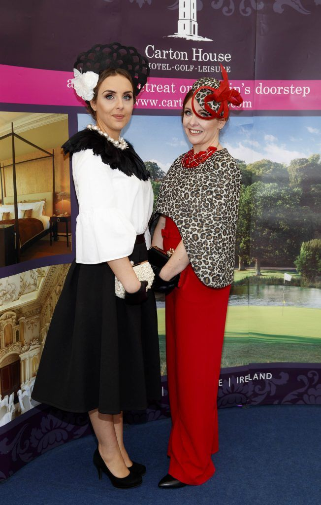 Grace Ryan and Eilish Ryna from Tipperary pictured at the Carton House Most Stylish Lady competition at the Irish Grand National Fairyhouse. Picture Andres Poveda