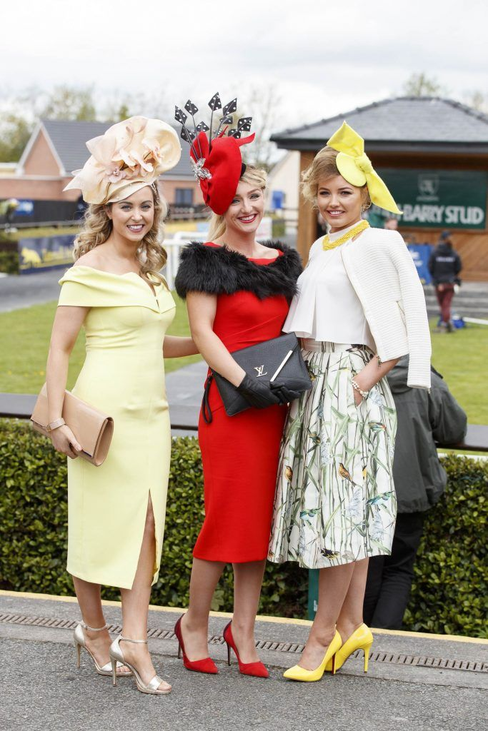 Suzanne McGovern, Lisa Jordan and Geraldine Rowland all from Meath pictured at the Carton House Most Stylish Lady competition at the Irish Grand National Fairyhouse. Picture Andres Poveda