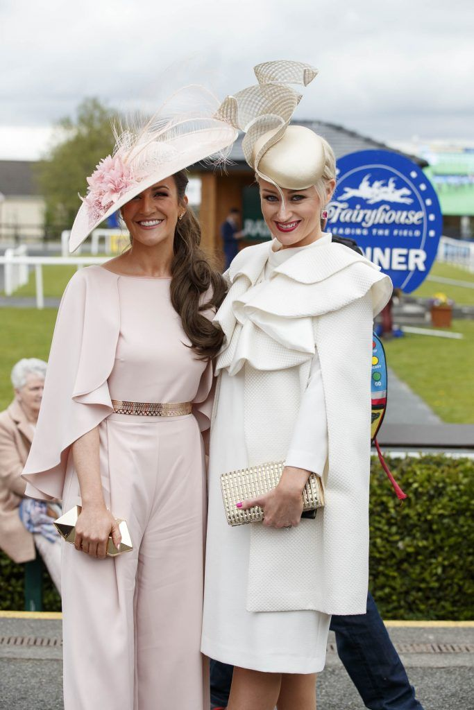 Rebecca-Rose Quigley from Clones Co Monaghan and Laura Hanlon from Roscommon pictured at the Carton House Most Stylish Lady competition at the Irish Grand National Fairyhouse. Picture Andres Poveda