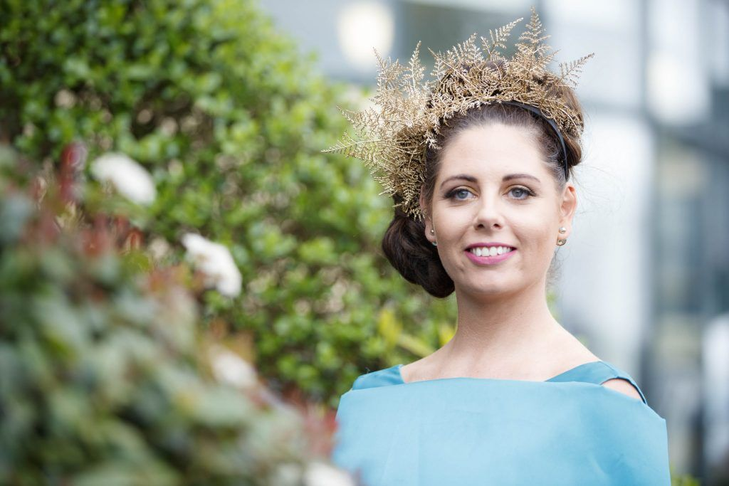 Gillian Duggan from Galway pictured at the Carton House Most Stylish Lady competition at the Irish Grand National Fairyhouse. Picture Andres Poveda