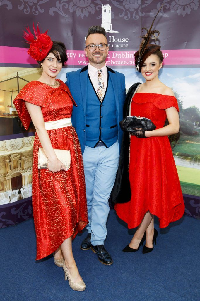 Ana Mac, Derek Montgomery and Rebecca McCabe pictured at the Carton House Most Stylish Lady competition at the Irish Grand National Fairyhouse. Picture Andres Poveda