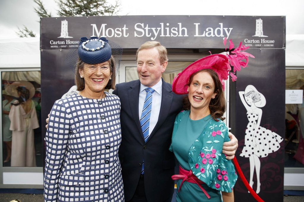 Brige Kirnan and Barbara Pointhan-Gleeson pictured at the Carton House Most Stylish Lady competition at the Irish Grand National Fairyhouse. Picture Andres Poveda