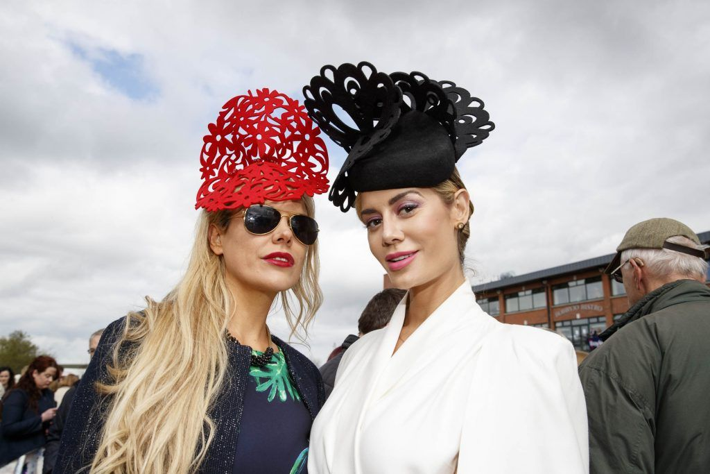 Rosalind Lipset and Brittany Mason pictured at the Carton House Most Stylish Lady competition at the Irish Grand National Fairyhouse. Picture Andres Poveda