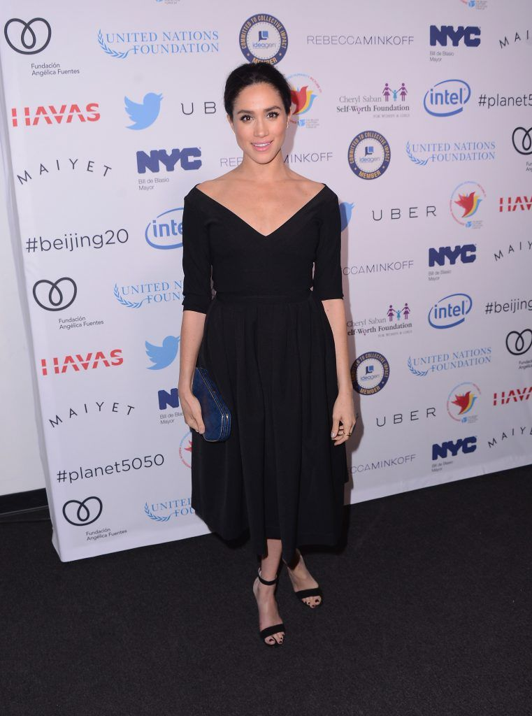 Meghan Markle attends the Step It Up For Gender Equality event celebrating the 20th anniversary of the fourth World Conference On Women in Beijing at Hammerstein Ballroom on March 10, 2015 in New York City.  (Photo by Stephen Lovekin/Getty Images)