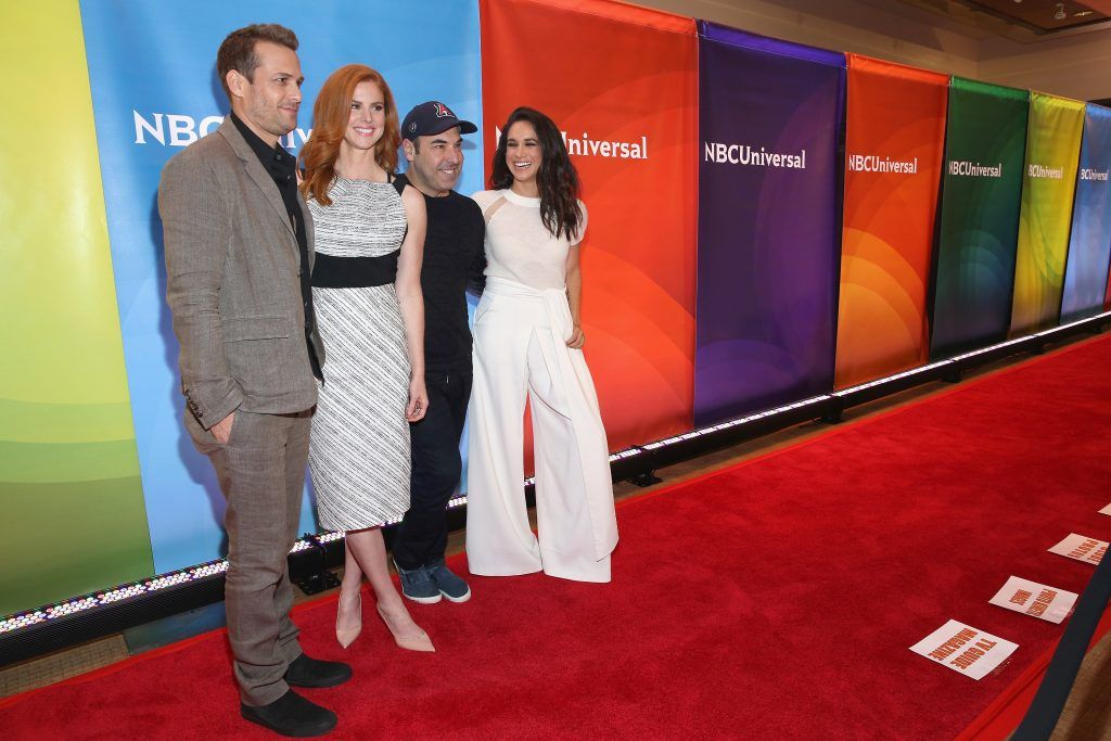 Gabriel Macht, Sarah Rafferty, Rick Hoffman and Meghan Markle attend the NBC's 2015 New York Summer Press Day at Four Seasons Hotel New York on June 24, 2015 in New York City.  (Photo by Robin Marchant/Getty Images)