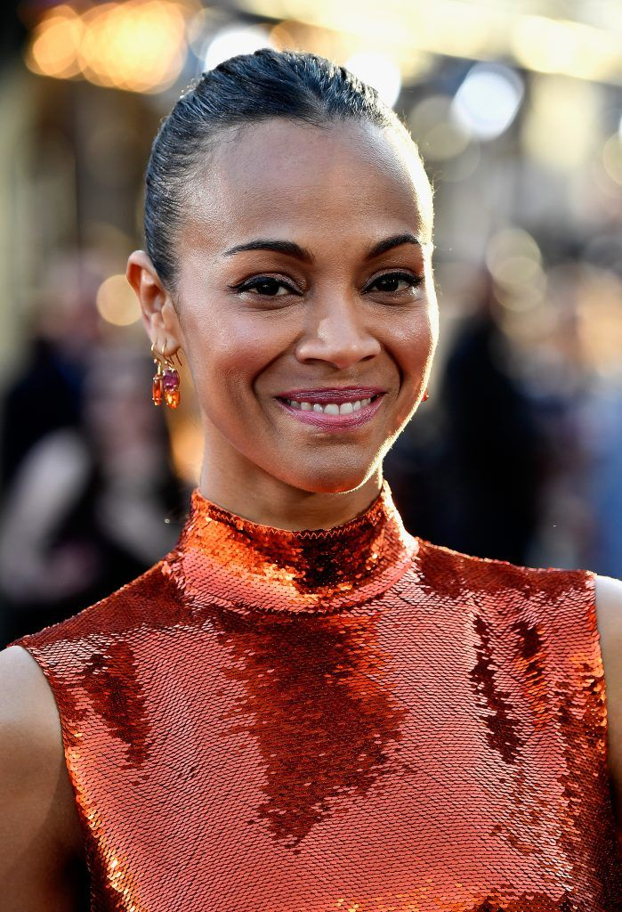 "Actress Zoe Saldana arrives at the premiere of Disney and Marvel's ""Guardians Of The Galaxy Vol. 2"" at Dolby Theatre on April 19, 2017 in Hollywood, California.  (Photo by Frazer Harrison/Getty Images)"