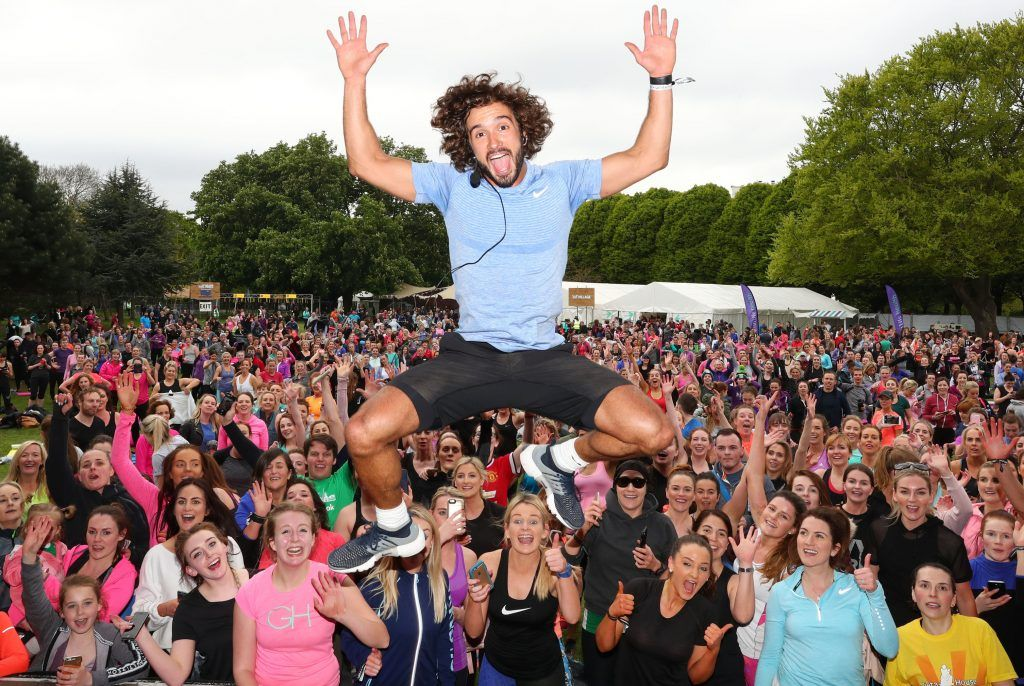 Pictured is The Body Coach Joe Wicks as over 5,000 people descended on Dublin's Herbert park for WellFest, Ireland's only health, wellness and fitness festival. Pic: Marc O'Sullivan