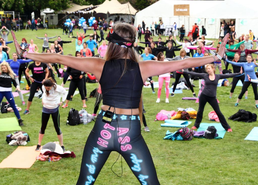 A performer from The House of Voga on stage as over 5,000 people descended on Dublin's Herbert park for WellFest, Ireland's only health, wellness and fitness festival. Pic: Marc O'Sullivan