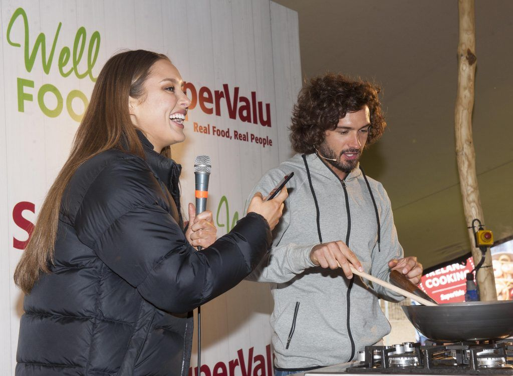 Body Coach, Joe Wicks and Roz Purcell were pictured at SuperValu's WellFood zone where they were showcasing their culinary skills at WellFest in Dublin's Herbert Park. Pic by Patrick O'Leary