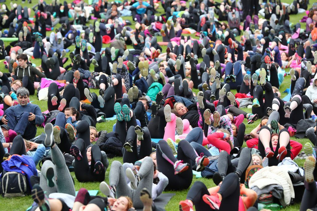Over 5,000 people descended on Dublin's Herbert park for WellFest, Ireland's only health, wellness and fitness festival. Pic: Marc O'Sullivan