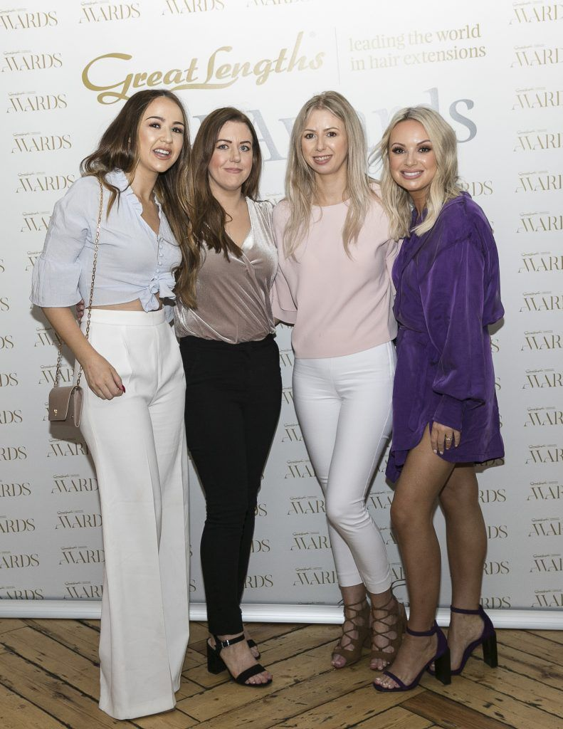 Salon 1501 Eve Murray, Lisa Hughes, Krystle Hughes, Sarah Byrne at the Great Lengths Awards 2017, held in Fade Street Social, Dublin. May 2017. Photographer - Paul Sherwood