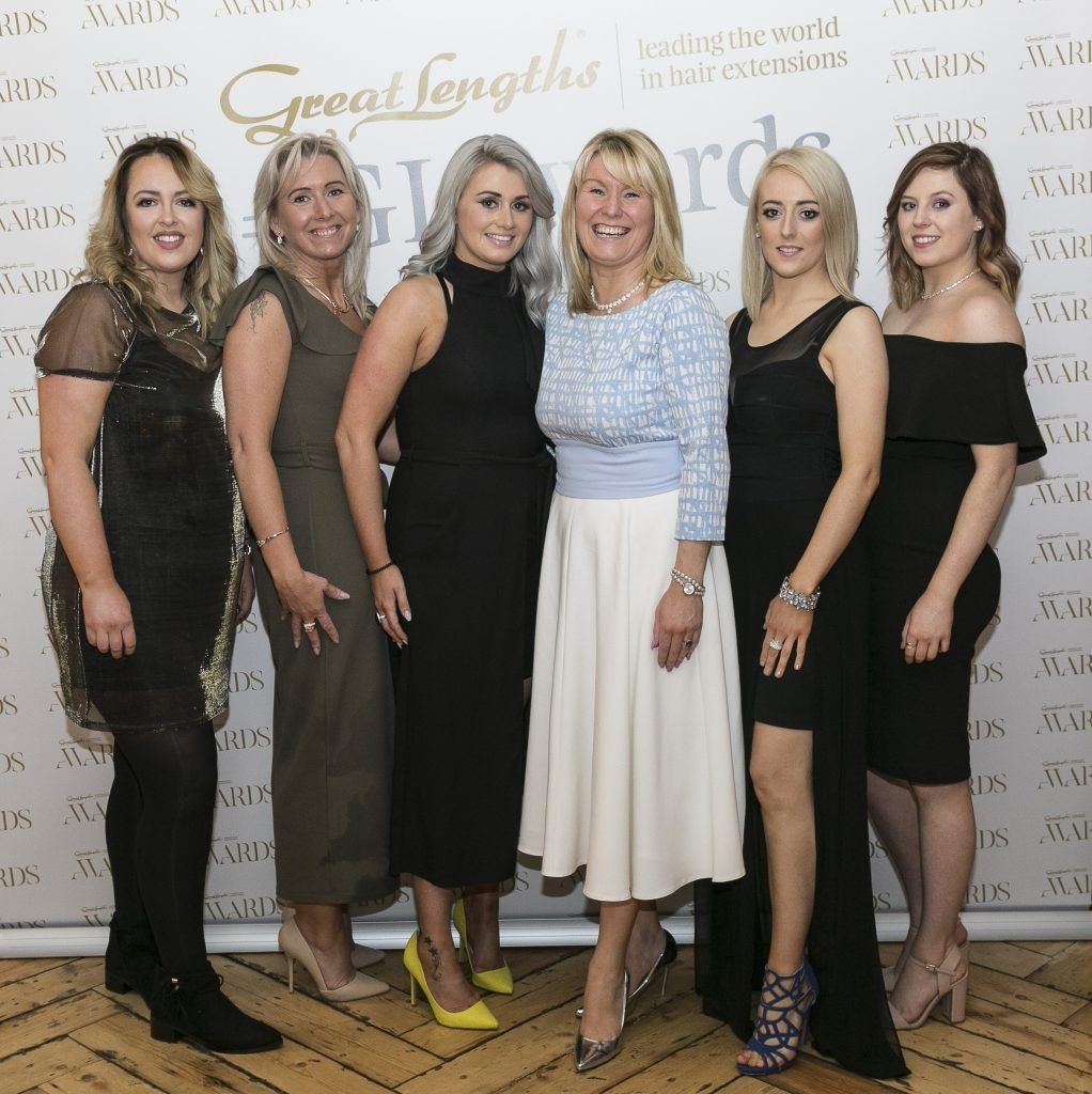 K Hair Philomena Donnelly, Sarah Curran, Karen Nolan, Patrina English, Linda Cummins, Emily Whelan at the Great Lengths Awards 2017, held in Fade Street Social, Dublin. May 2017. Photographer - Paul Sherwood