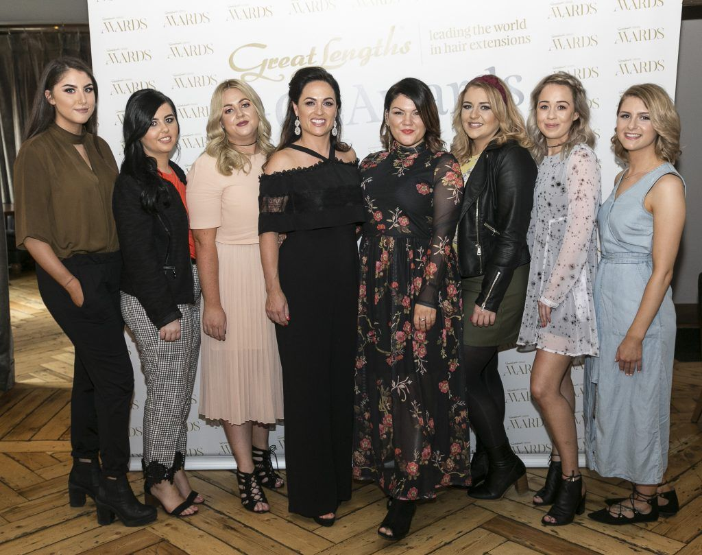 Eternal Flair Morgan Macnamara, Maggie Brennan, Louise Karney, Sarah Brennan, Aileen Barnby, Katie Cornally, Laura Macdonnell, Megan Evans at the Great Lengths Awards 2017, held in Fade Street Social, Dublin. May 2017. Photographer - Paul Sherwood