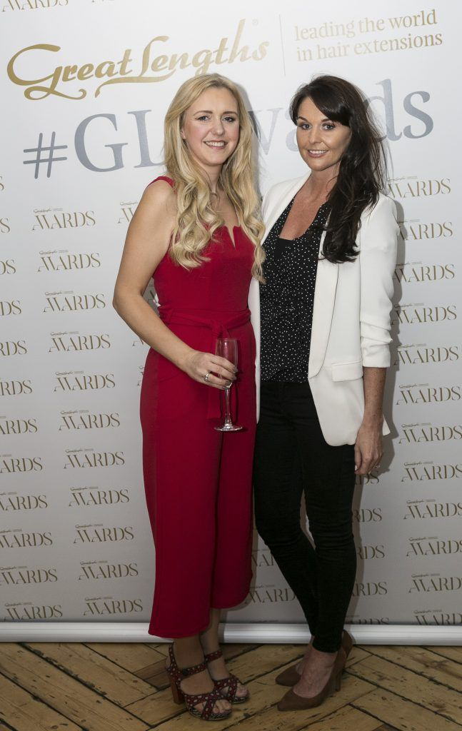 Edwina Hayes, Jane Swarbrigg at the Great Lengths Awards 2017, held in Fade Street Social, Dublin. May 2017. Photographer - Paul Sherwood