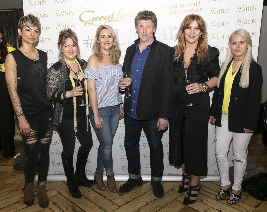 Cowboys And Angels Diana Kostyra, Kim Thorpe, Ciara Molloy, Brendan O'Connor, Valerie Patterson, Kayleigh Kavanagh at the Great Lengths Awards 2017, held in Fade Street Social, Dublin. May 2017. Photographer - Paul Sherwood